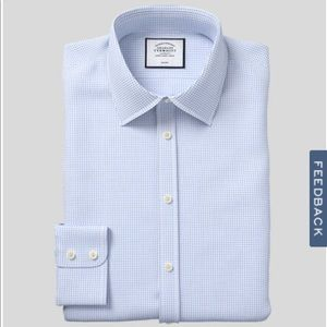 NWOT Charles Tyrwhitt Twill Mini Grid Slim Fit